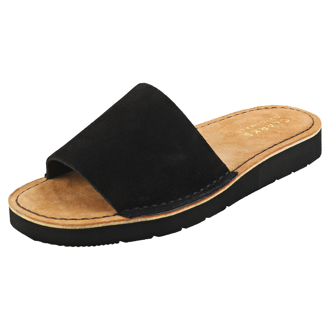 Clarks Originals Lunan Womens Black Suede Slide Sandals 8 UK
