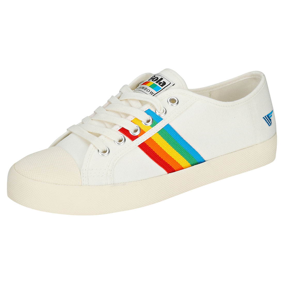 Gola Coaster Rainbow Damen Off WEISS Multicolour Leinwand Sneaker - 36 EU