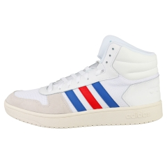 adidas HOOPS 2.0 MID Men Casual Trainers in White Blue Red