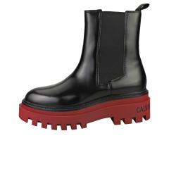 Calvin Klein FLATFORM MID Women Chelsea Boots in Black Burgundy