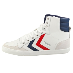 hummel SLIMMER STADIL HIGH Men Casual Trainers in White Blue Red