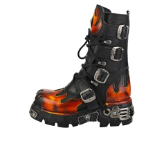 New Rock FLAMES AND REACTOR Unisex Platform Boots in Black Red