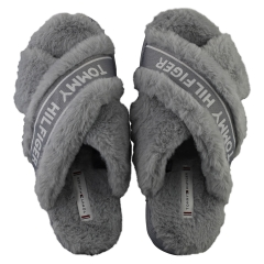 Tommy Hilfiger FURRY HOME Women Slippers Shoes in Steam Grey