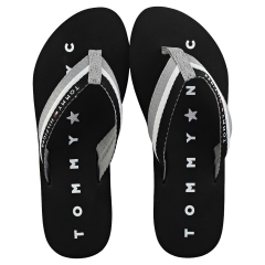Tommy Hilfiger TOMMY LOVES NY BEACH Women Flip Flop Sandals in Black
