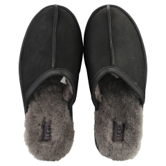 UGG SCUFF LEATHER Men Slippers Shoes in Black