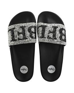 Buffalo JOELLE Women Slide Sandals in Black Silver