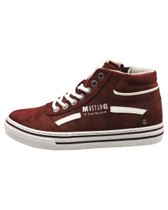 Mustang LACE UP SIDE ZIP MID Women Casual Shoes in Burgundy