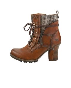 Mustang SIDE ZIP HEEL Women Ankle Boots in Cognac