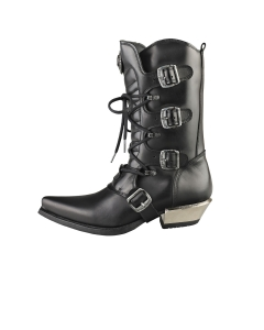 New Rock COWBOY BOOTS Unisex Knee High Boots in Black