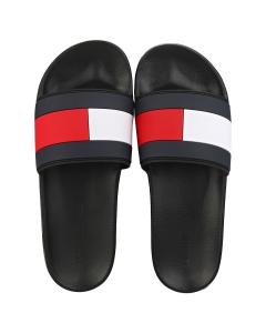 Tommy Hilfiger ESSENTIAL FLAG POOL Men Slide Sandals in Black