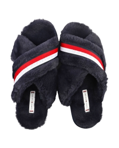 Tommy Hilfiger FURRY HOME Women Slippers Shoes in Navy Red White