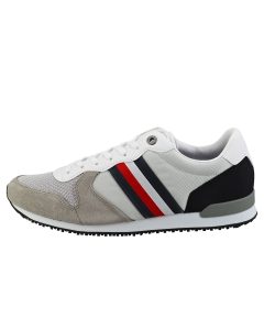 Tommy Hilfiger ICONIC MATERIAL MIX RUNNER Men Casual Trainers in Silver White