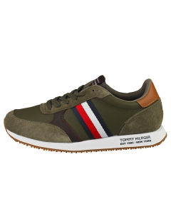 Tommy Hilfiger RUNNER LO LEATHER MIX Men Running Trainers in Army Green