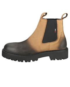 Tommy Jeans BRUSHED CHUNKY Men Chelsea Boots in Cracked Earth Black