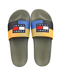 Tommy Jeans CORDUROY COLOUR BLOCK POOL Men Slide Sandals in Army Green