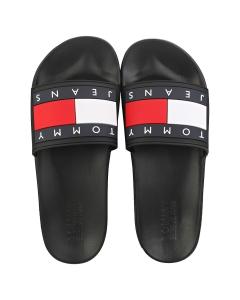 Tommy Jeans FLAG POOL Men Slide Sandals in Black