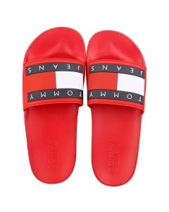 Tommy Jeans FLAG POOL Men Slide Sandals in Red