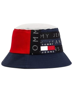 Tommy Jeans HERITAGE BUCKET Hat in Navy Red White