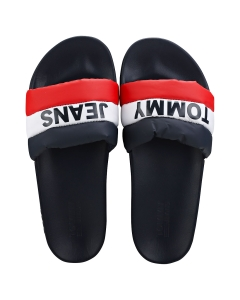 Tommy Jeans PADDED POOL Women Slide Sandals in Red White Blue