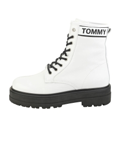 Tommy Jeans PATENT Women Flatform Boots in White Black