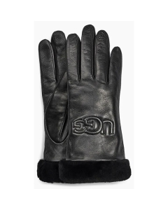 UGG CLASSIC LEATHER LOGO Gloves in Black