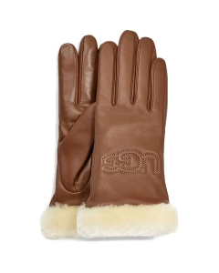 UGG CLASSIC LEATHER LOGO Gloves in Chestnut